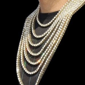 """Jewelry - MENS 14k Gold 20"""" Iced Out Tennis Chain"""